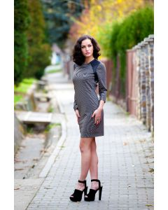 Checked dress 415644-14-2550brown