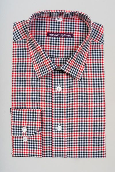 CHECKED MEN SHIRT WITH WHITE, RED AND BLACK CHECKS