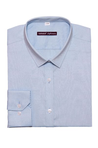 SLIM FITTED BLUE SHIRT WITH LONG SLEEVES
