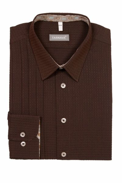 SHIRT WITH PLEATS 415349-11-2077BROWN