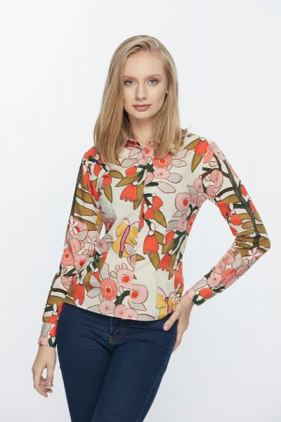WHITE AND ORANGE LONG SLEEVE WOMEN BLOUSE
