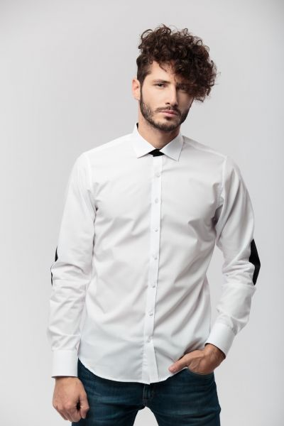 WHITE SHIRT, SLIM FITTED, WITH BLACK ELLBOW PATCHES, MONTH MARCH