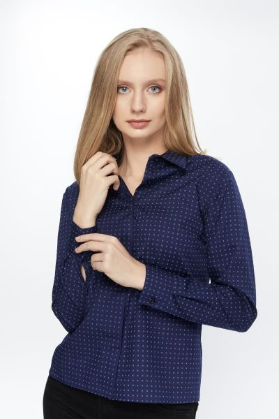 DARK BLUE LONG SLEEVE WOMEN BLOUSE
