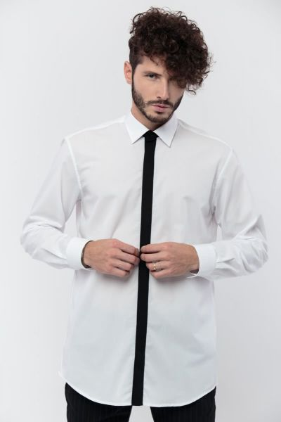 WHITE MEN SHIRT WITH BLACK BUTTON PLACKET- MONTH MAY
