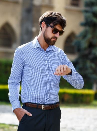 men shirt blue caro