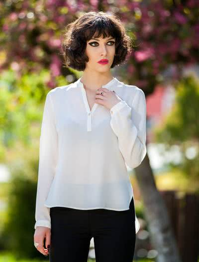 modern white blouse